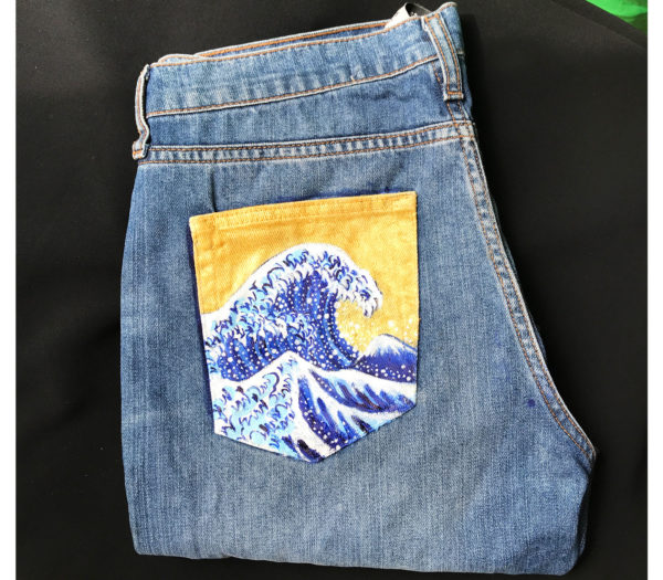 Destroy straight high waisted upcycled pair of jeans - Waves