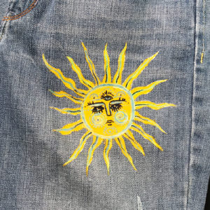 #Upcycled pair of jean - The sun