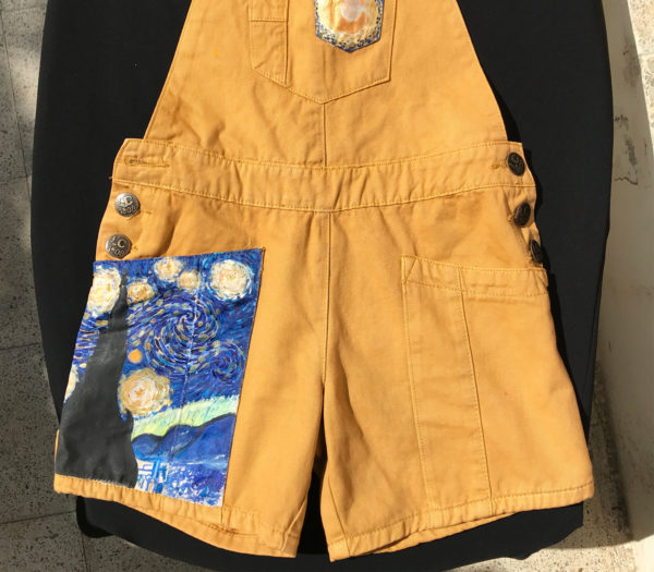 Upcycled camel overalls shorts - Painter edition