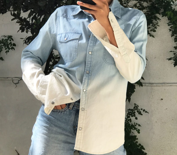 Upcycled denim shirt - Patchwork party