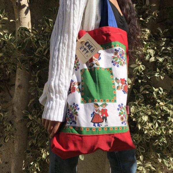 Vintage style upcycled tote bag from CHKARTY
