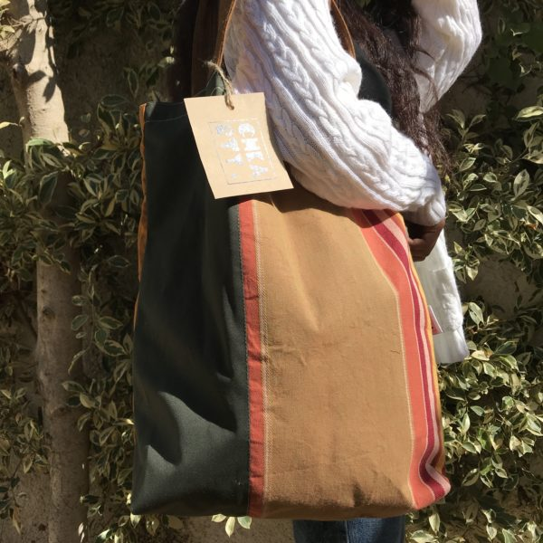 Upcycled tote bag from CHKARTY rayures lovers