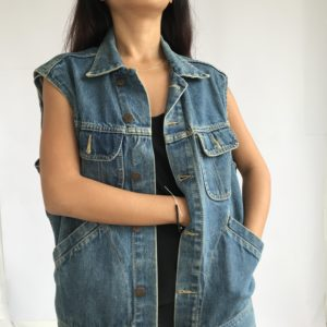 Sleeveless vintage denim jacket