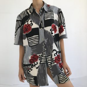 Red roses and black lines vintage shirt